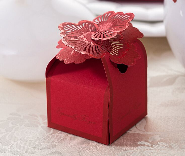 Wedding Candy Bag Red Flower Bride And Groom Packaging Favors Gifts Sugar Luxury Decoration Paper