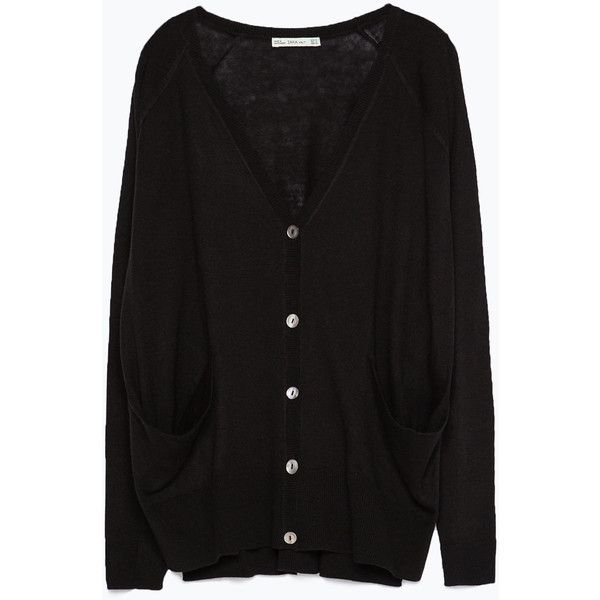 e381ddfd371f Zara Knit Cardigan With Pockets ( 23) ❤ liked on Polyvore featuring ...