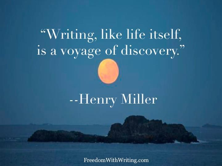 """""""Writing ... a voyage of discovery"""" -Henry Miller"""