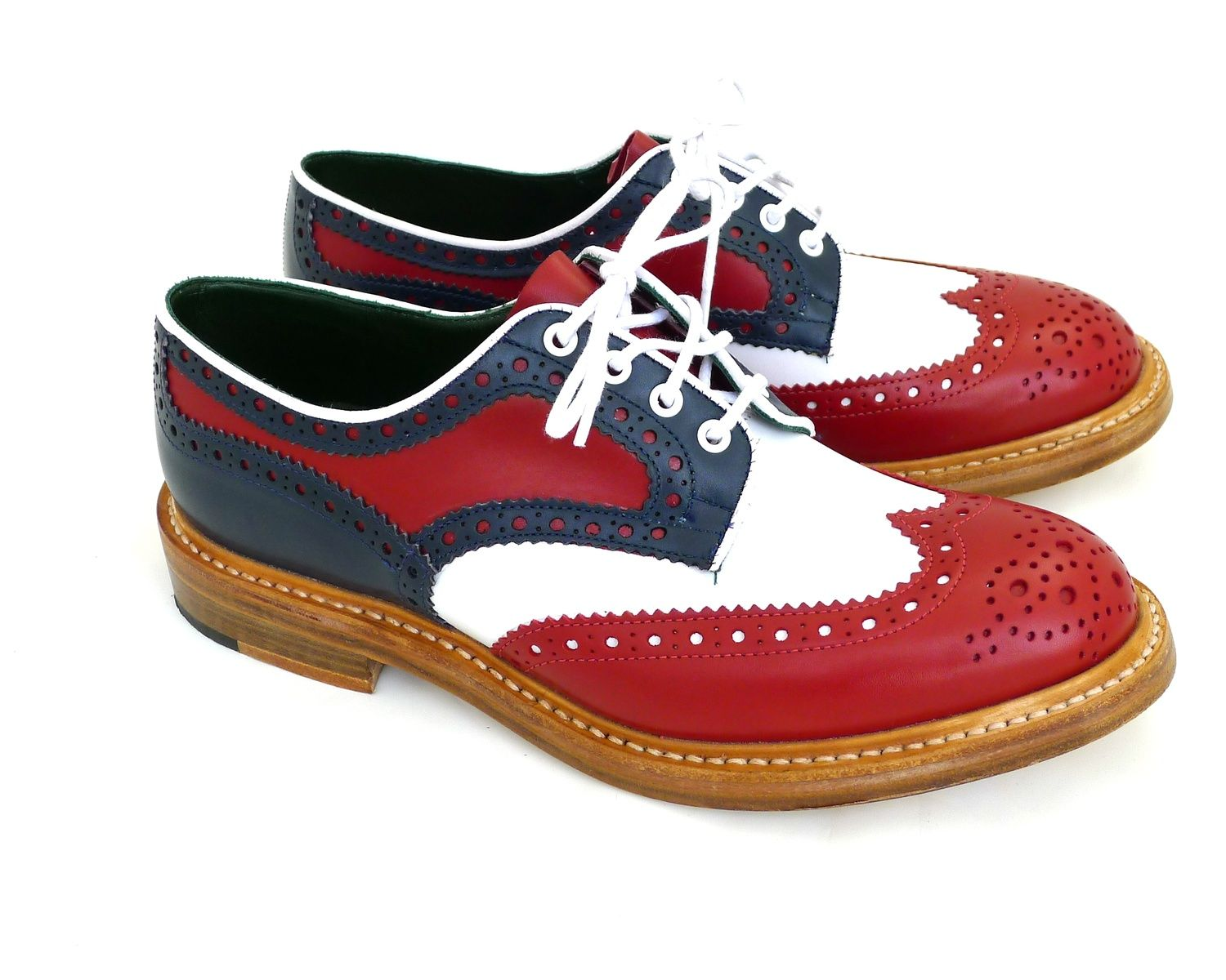 Men's Tricker's Multi-Color Derby Brogue Shoes with White Piping