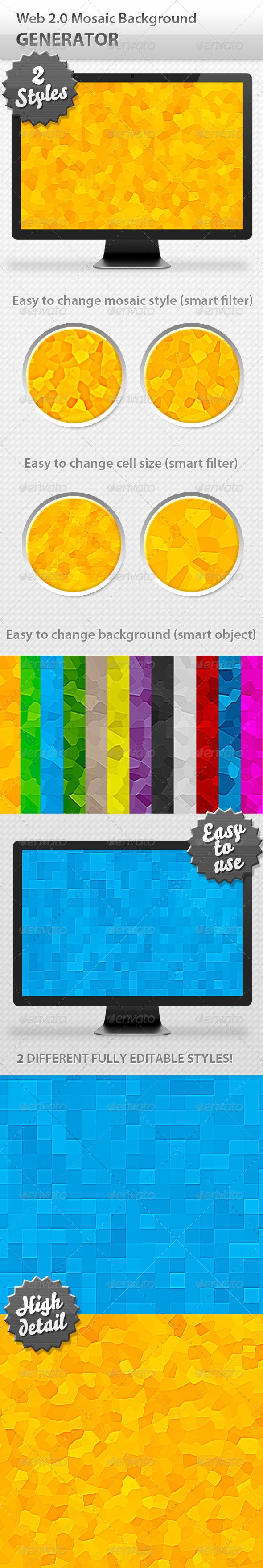 Web 20 mosaic background generator generators mosaics and font logo web 20 mosaic background generator voltagebd Image collections