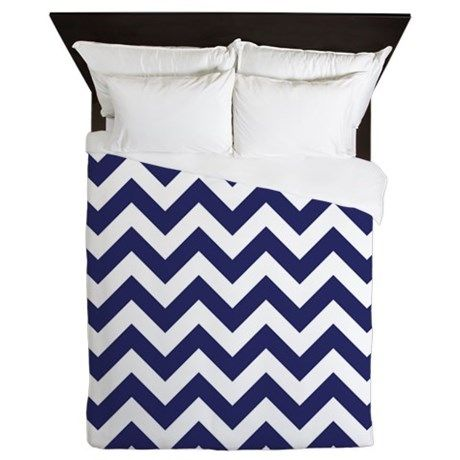Navy Blue Chevron Queen Duvet