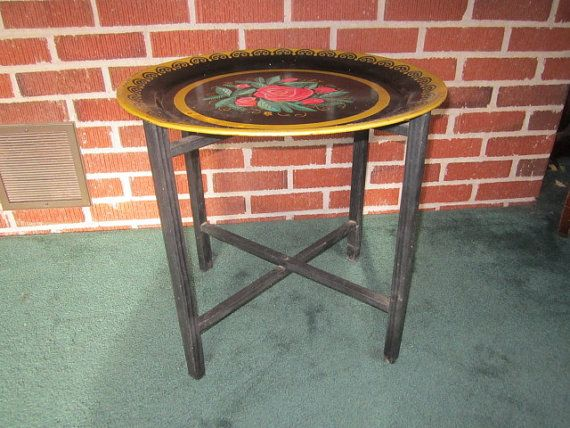 Vintage Colorful Metal Floral Tray Table With Folding Black