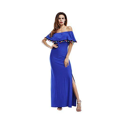 innovative design edb05 f9861 WANG Vestiti Vestito da feste lunghe da donna in puro cotone ...