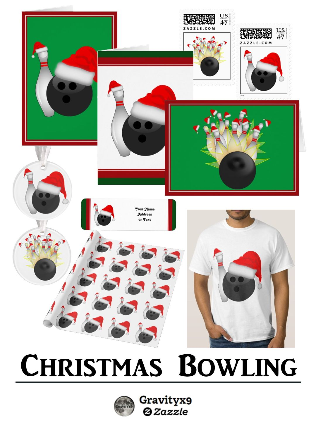 Christmas for Bowlers! Bowling themed ornaments, Christmas cards and ...