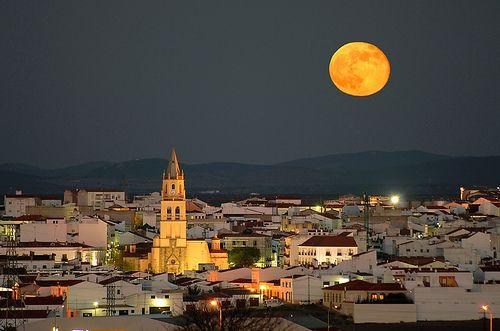 Moon over Villafranca de los Barros, Spain