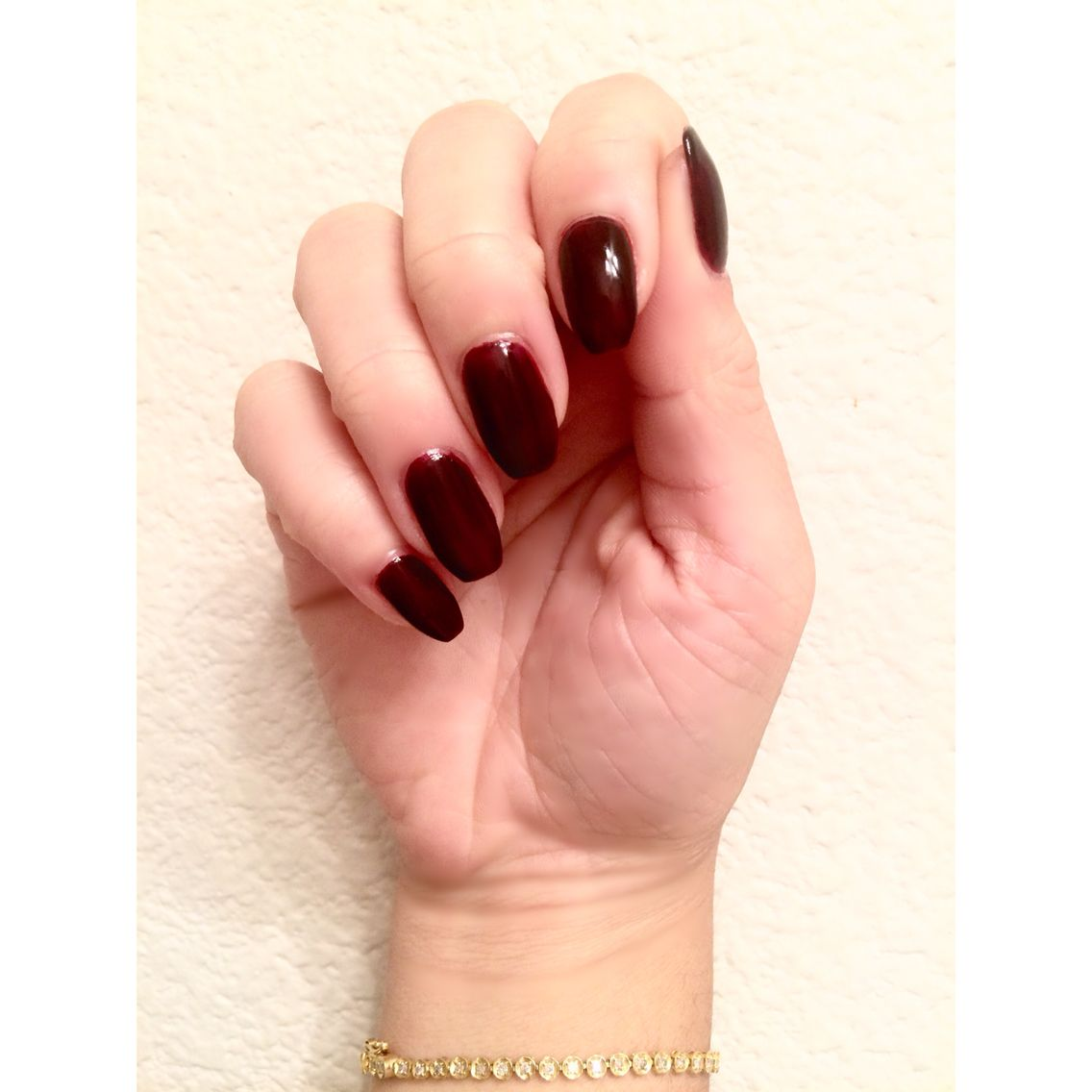 Sally Hansen\'s gel nail polish in Wine Stock. Deep burgundy color ...
