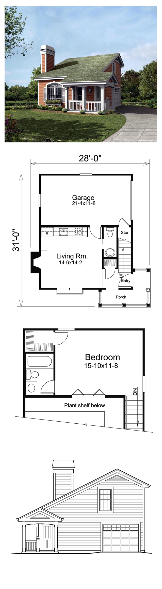 Country Style House Plan with 1 Bed 2 Bath 1 Car Garage