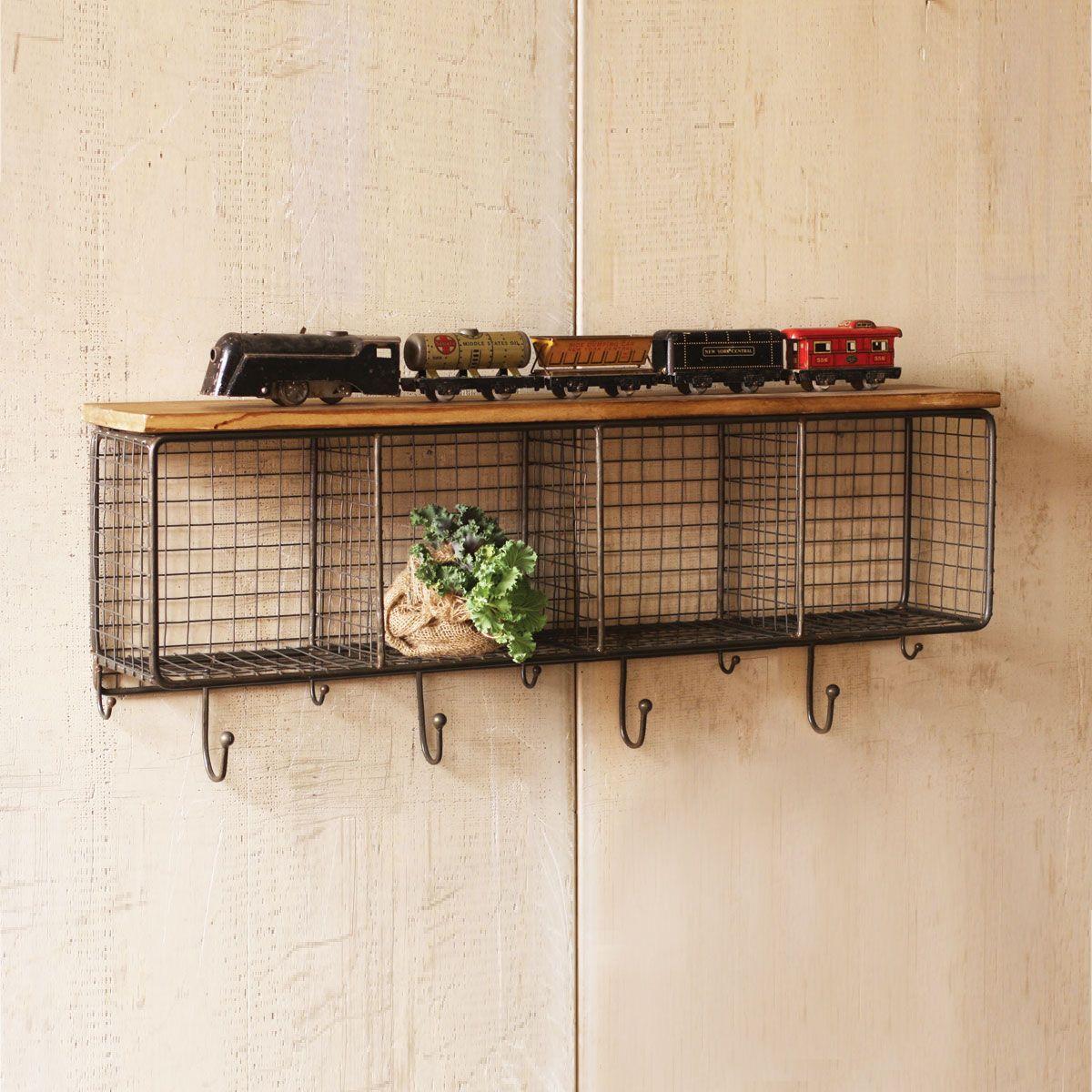 Metal wire locker room wall shelf hooks storage basket vintage wire cubbies with wood shelf dot bo amipublicfo Images
