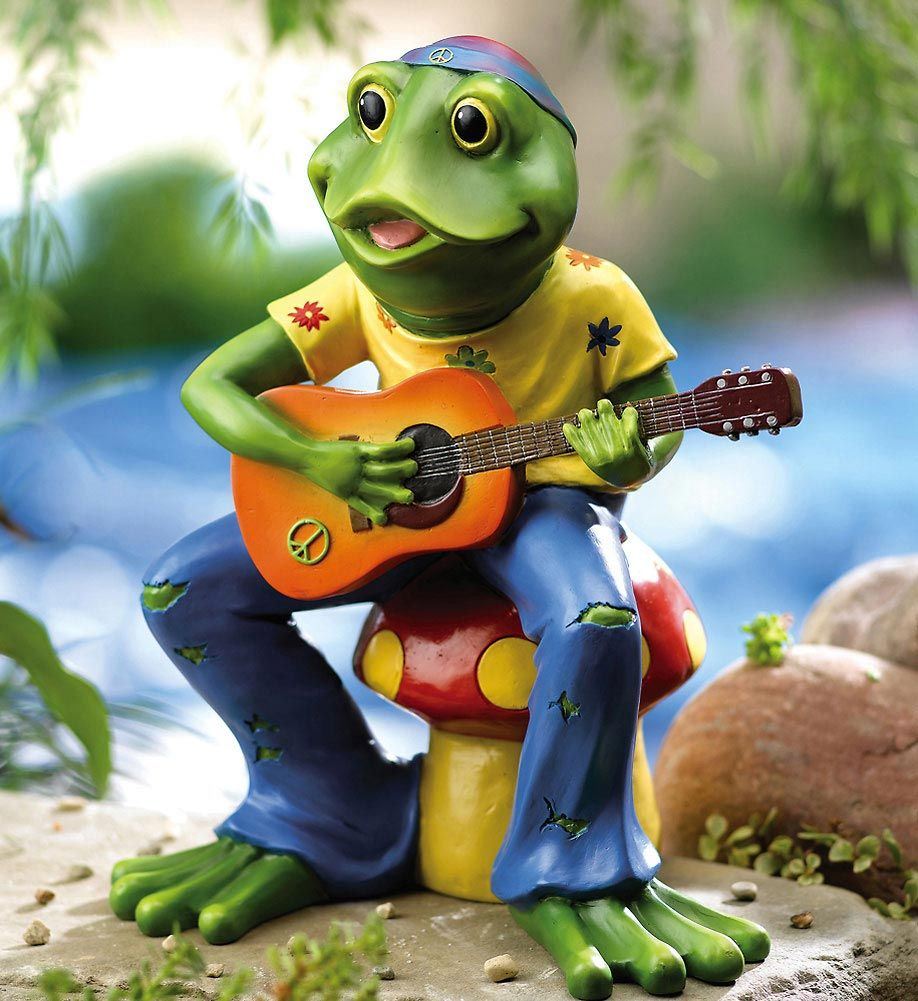 Hippie Frog Playing Guitar Frog Cute Frogs 400 x 300