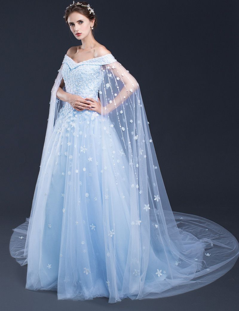 Blue Wedding Dresses,Long Bridal Gowns,Bridal Gowns with Cathedral ...