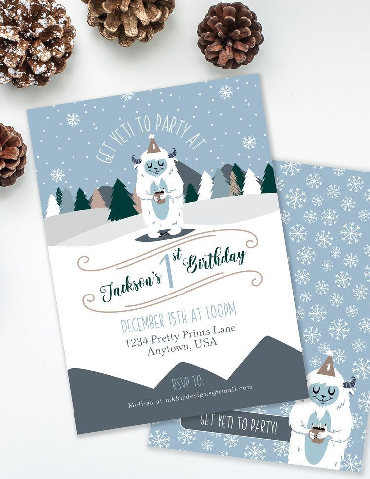 Yeti To Party Birthday Invitation in 2019 Party ✦ Winter