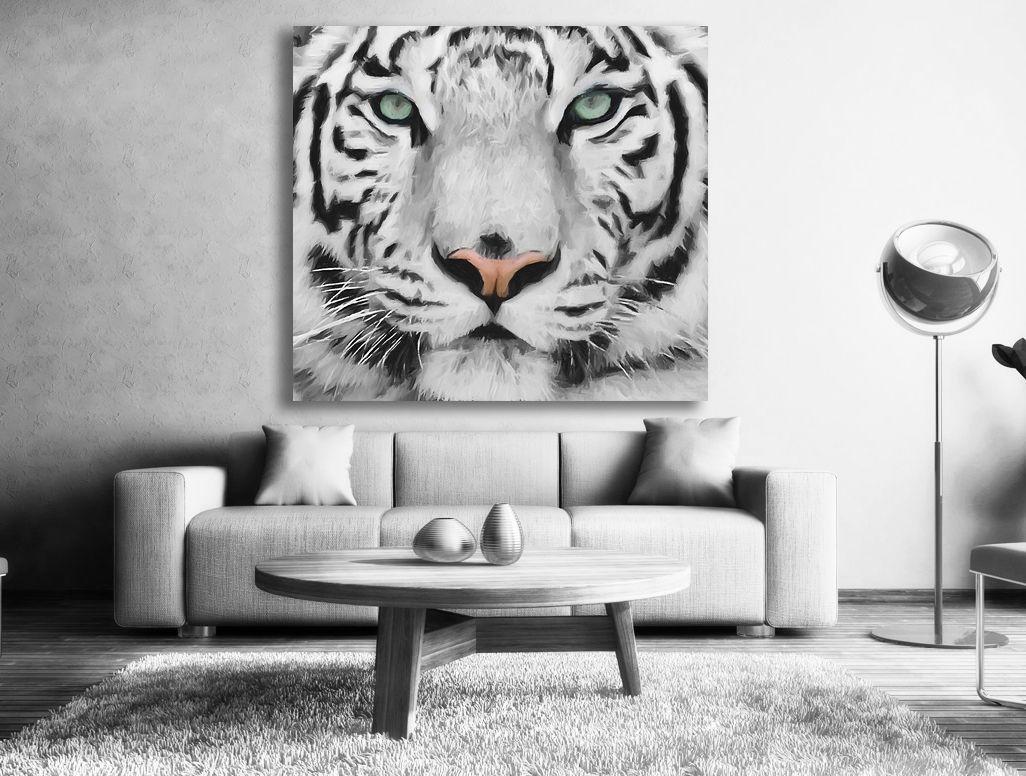 tiger tavla svart vit