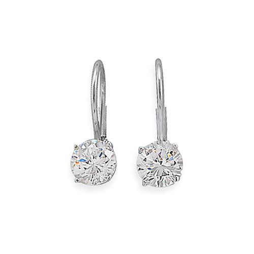 Sterling Silver 75 Carat Cz Solitaire Diamond Leverback Earrings