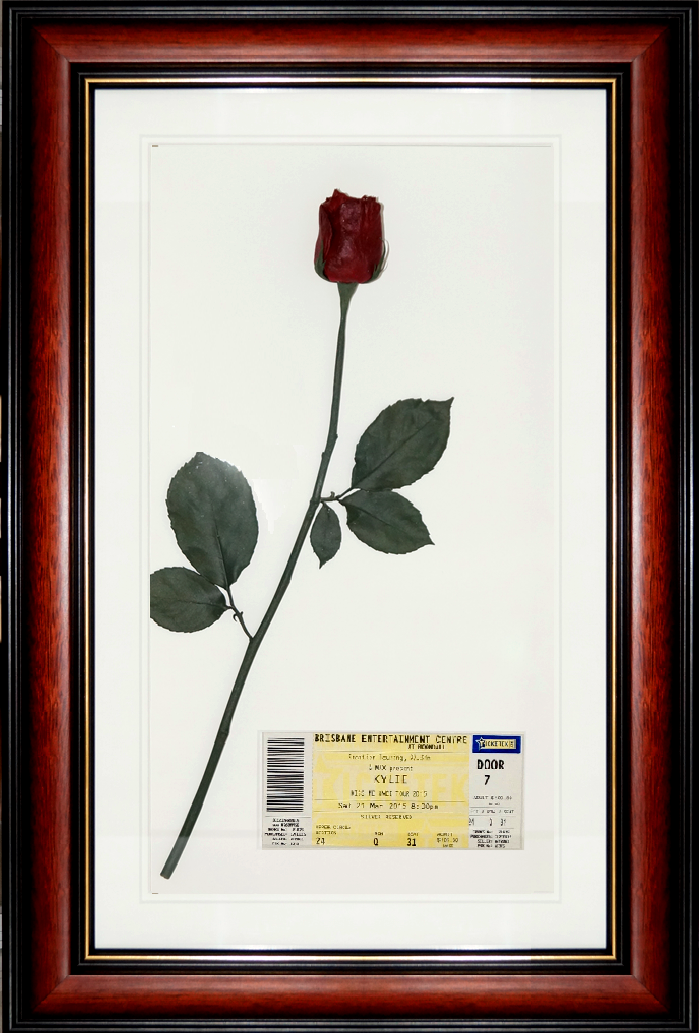 A Single Preserved Red Rose And Kylie Minogue Kiss Me Once Tour Ticket Wedding Bouquet Preservation Bouquet Preservation Floral Preservation