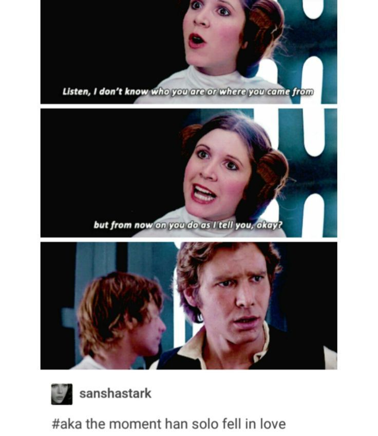 The Moment Han Solo Fell In Love Star Wars Funny Funny Star Wars Meme Sta Star Wars Funny Fel Star Wars Memes Star Wars Humor Star Wars Jokes