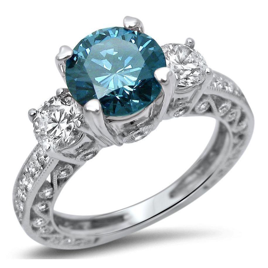 Noori 18k White Gold 2ct Diamond Blue 3 Stone Round