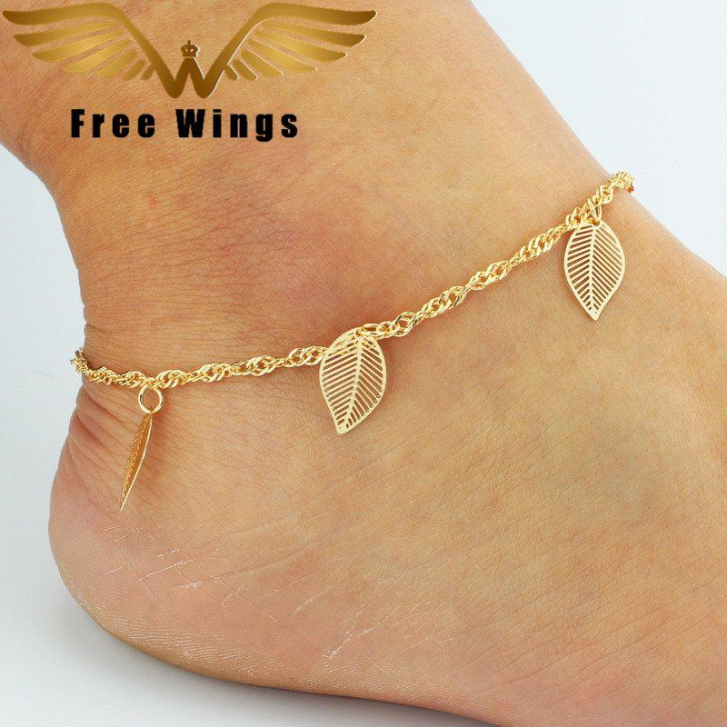 Ankle Bracelet Foot Leg Gold Chain With fashion Cute Simple Leaves ...