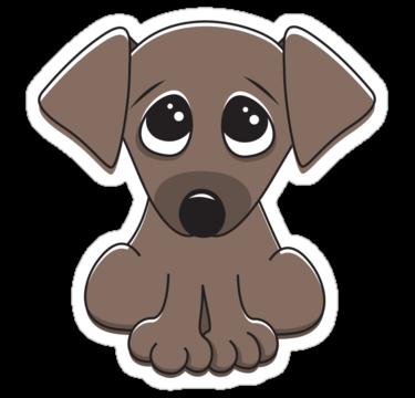 Cute Cartoon Dog With Big Begging Eyes Sticker By Mheadesign Puppy Cartoon Cartoon Dog Cute Cartoon