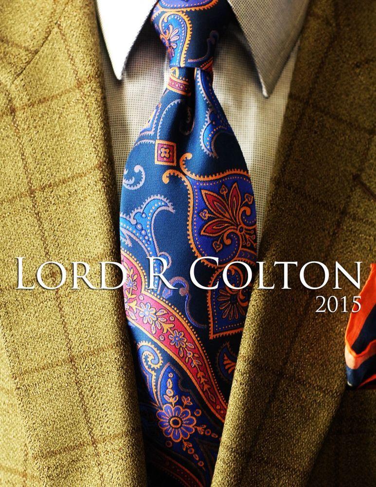 $95 Retail New Lord R Colton Collegiate Stripe Tie Orange /& Navy Necktie