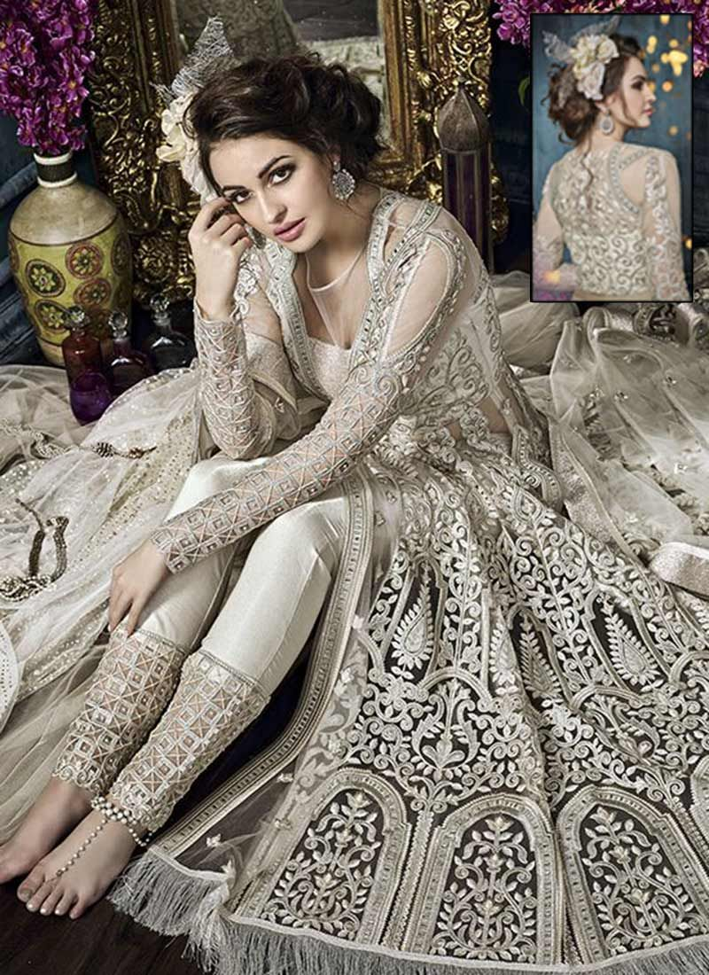 Off white net a line lehenga wedding recption dress pinterest