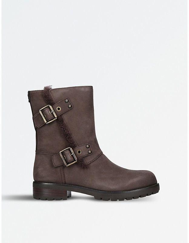 Ugg Ladies Dark Brown Niels Leather Biker Boots