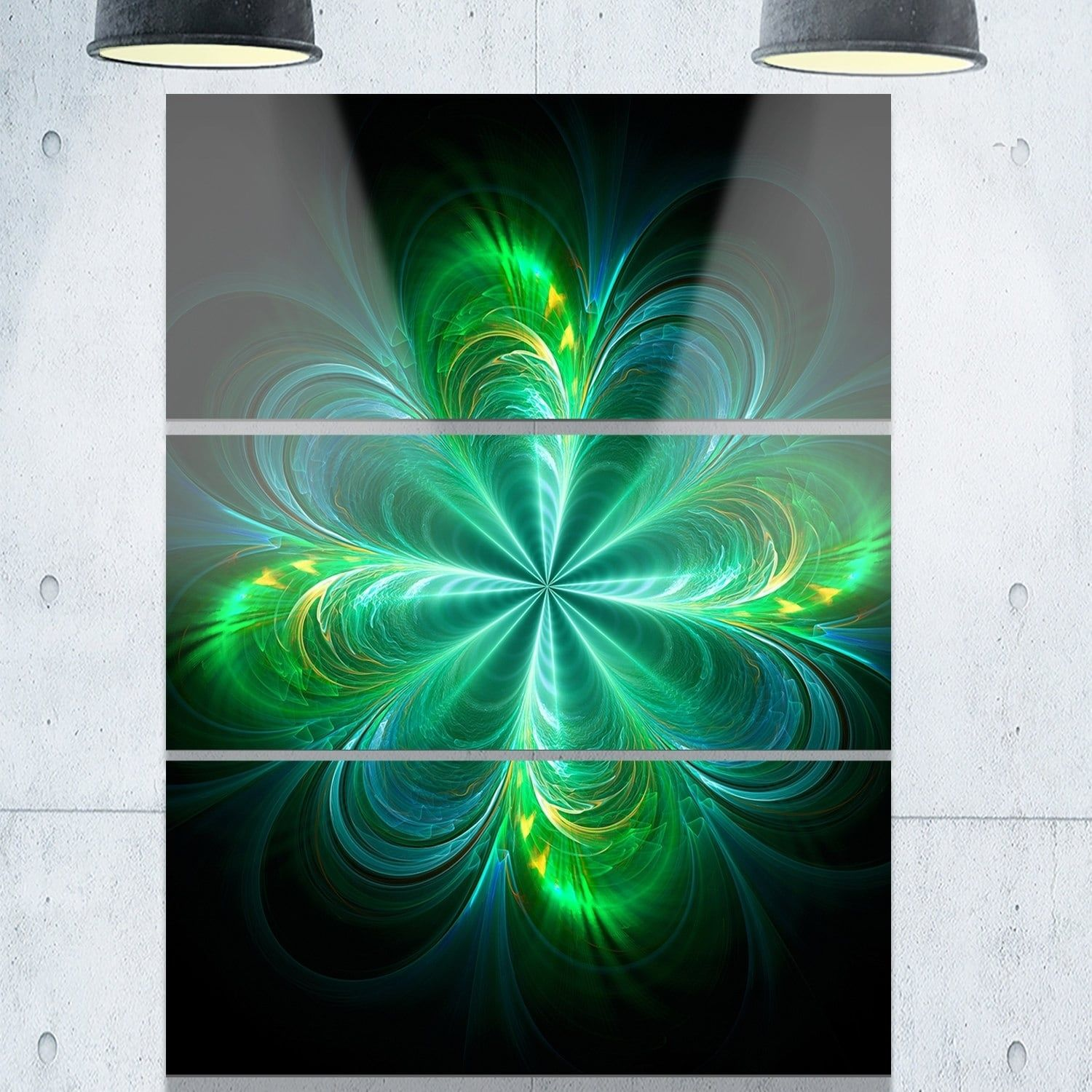 Green fractal flower blooming abstract glossy metal wall art