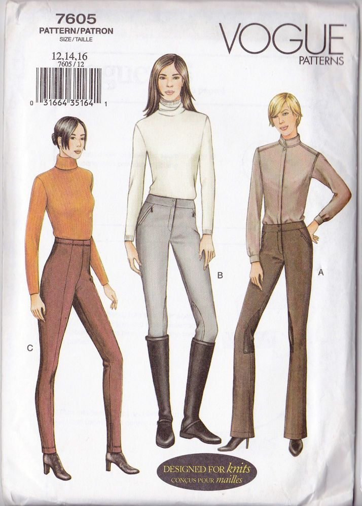 VOGUE 7605 Sew Pattern Equestrain Breeches Riding Pants 12-14-16 ...