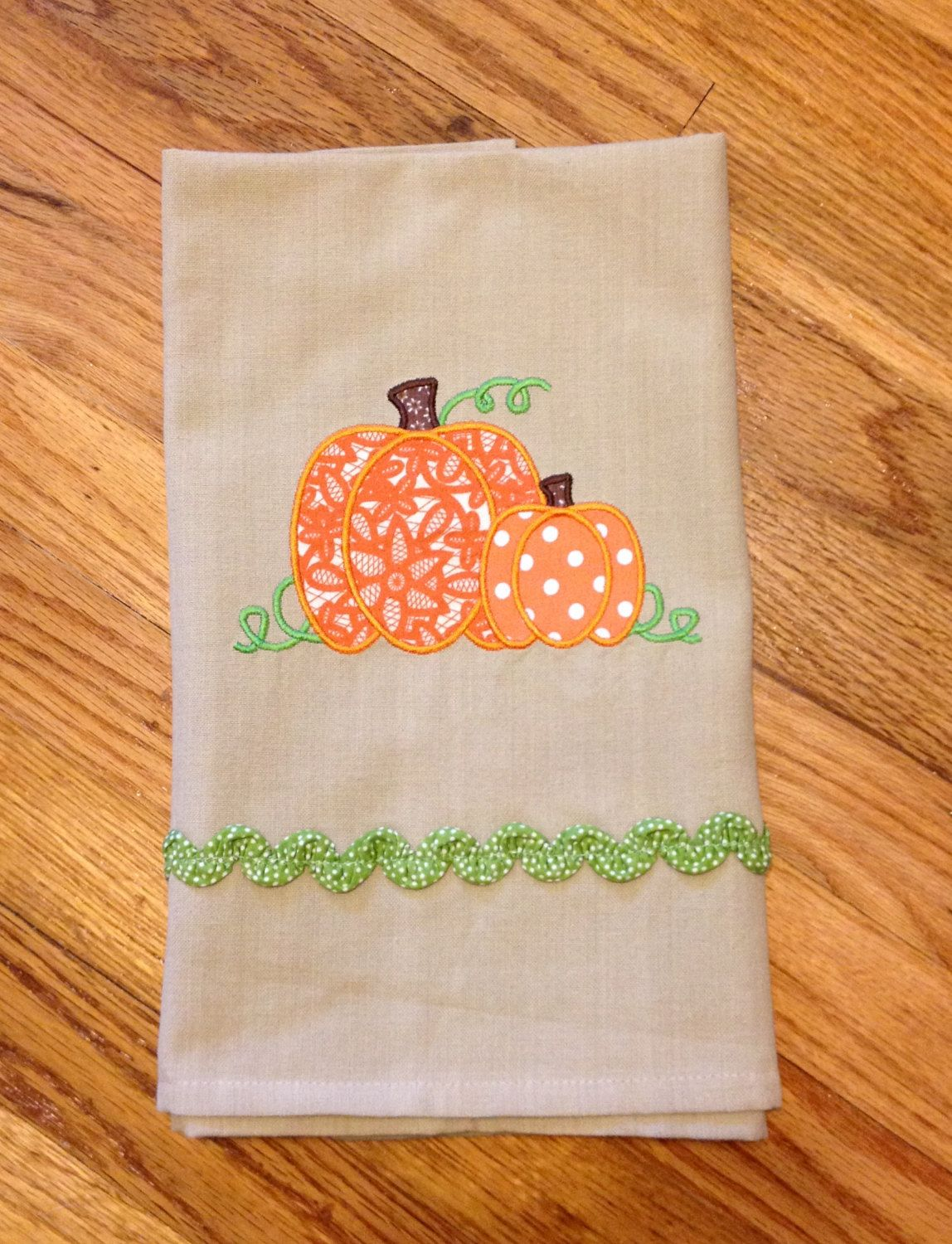 Fall Seasonal Kitchen Towel / Tea Towel With Pumpkins By EmbroiderMePretty  On Etsy