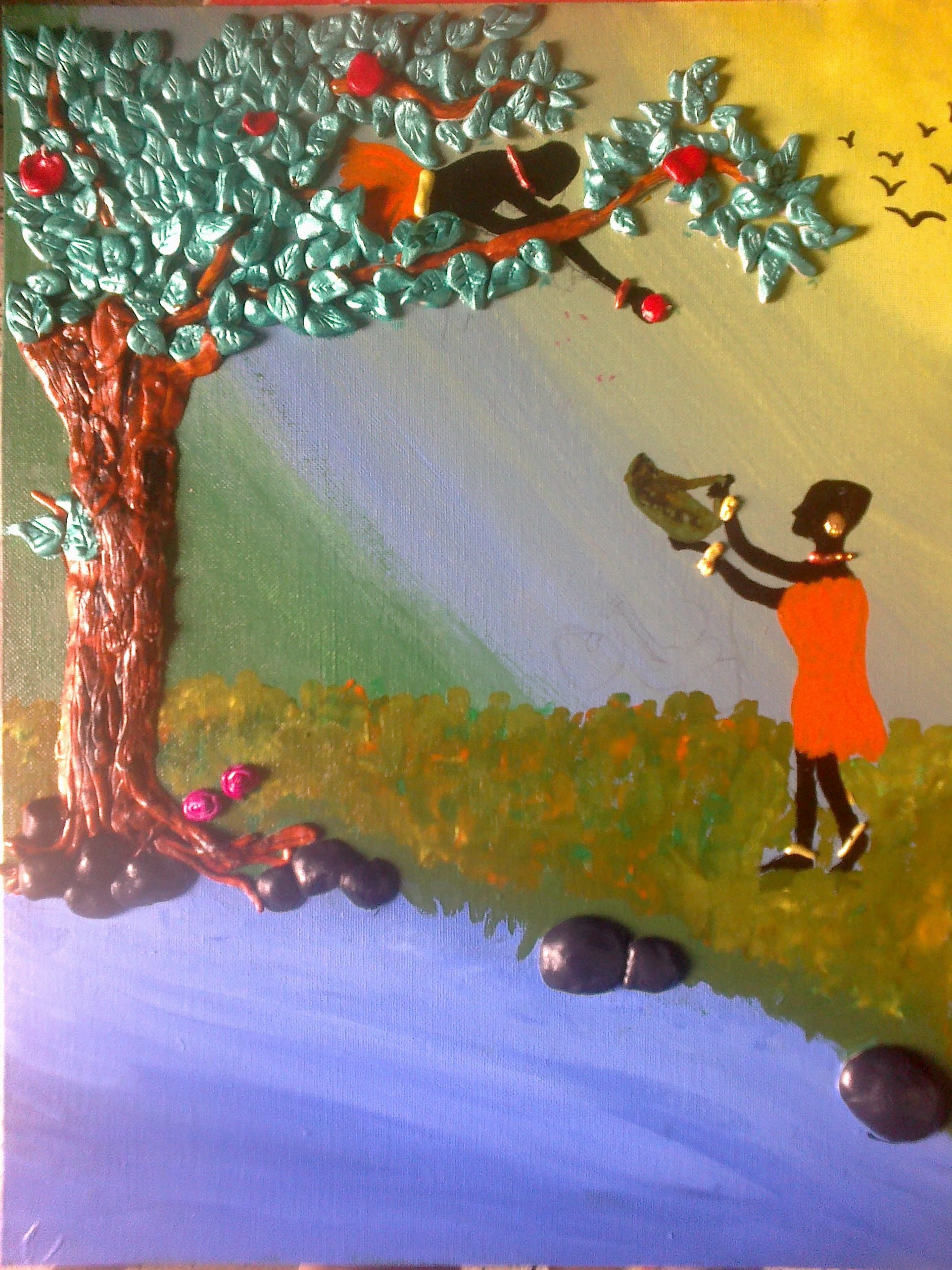 A scene of kids painting using acrylic paints and Shilpkar for a 3D ...