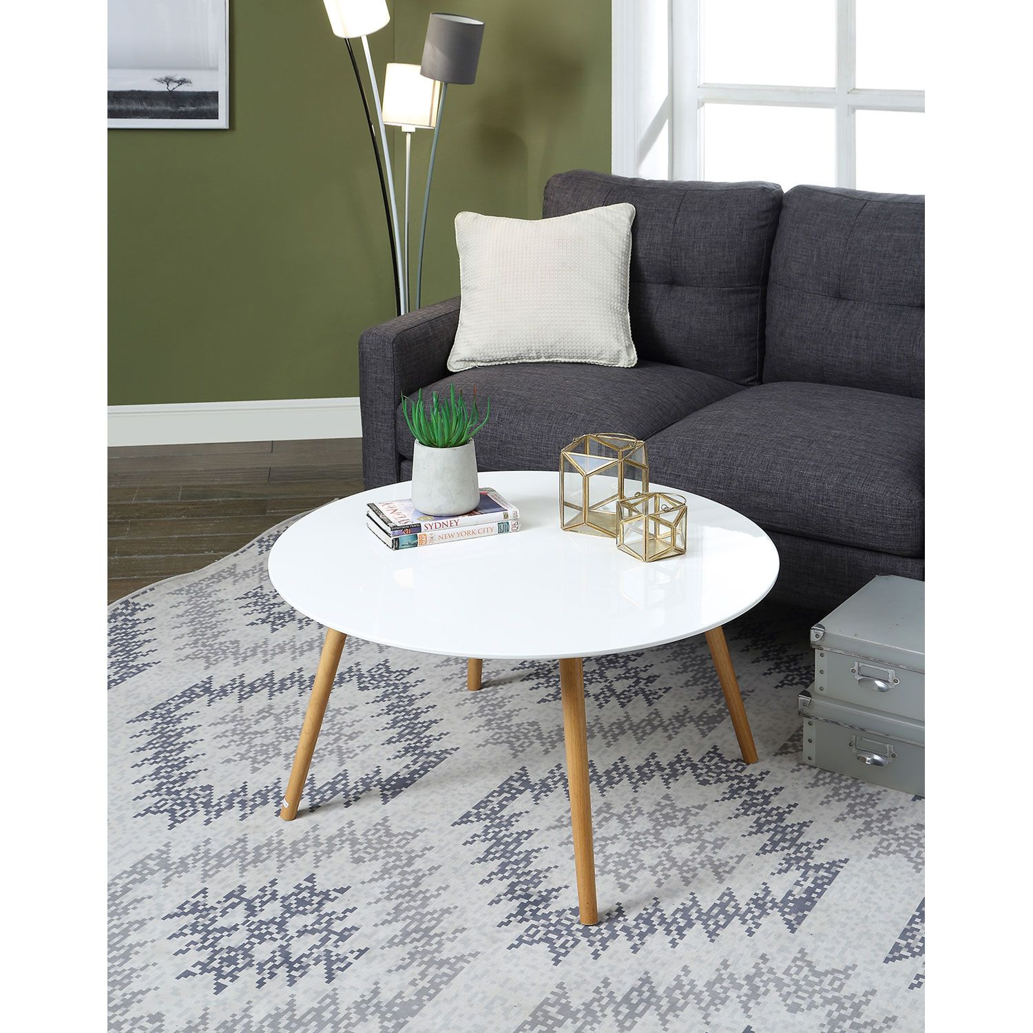 Convenience Concepts Oslo Glossy White Round Coffee Table 203482w Bellacor Coffee Table White Round Coffee Table White Furniture Living Room [ 1500 x 1500 Pixel ]