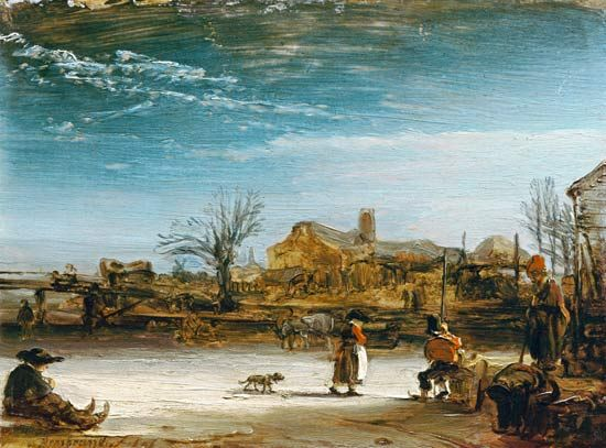Rembrandt van Rijn (b. 15 July 1606) - Winter landscape. *** http ...