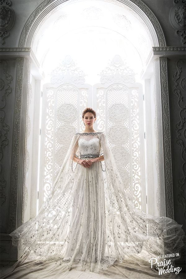 Never thought a bridal cape can look so whimsical and for Wedding dress with a cape