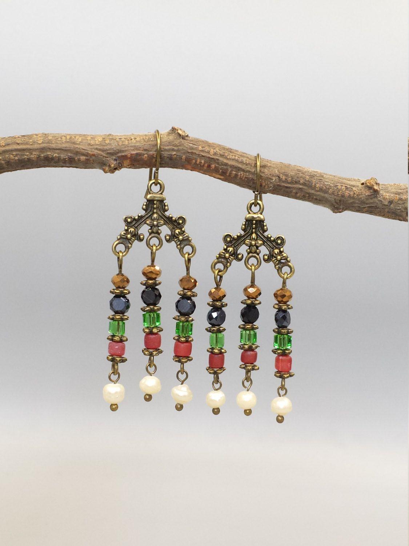 Multi Colors Beaded Dangling Earrings, beaded chandelier earrings, beaded…