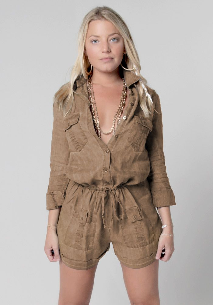 828a7b851697 100% Linen Button Down Romper With Pockets and Drawstring in Khaki ...