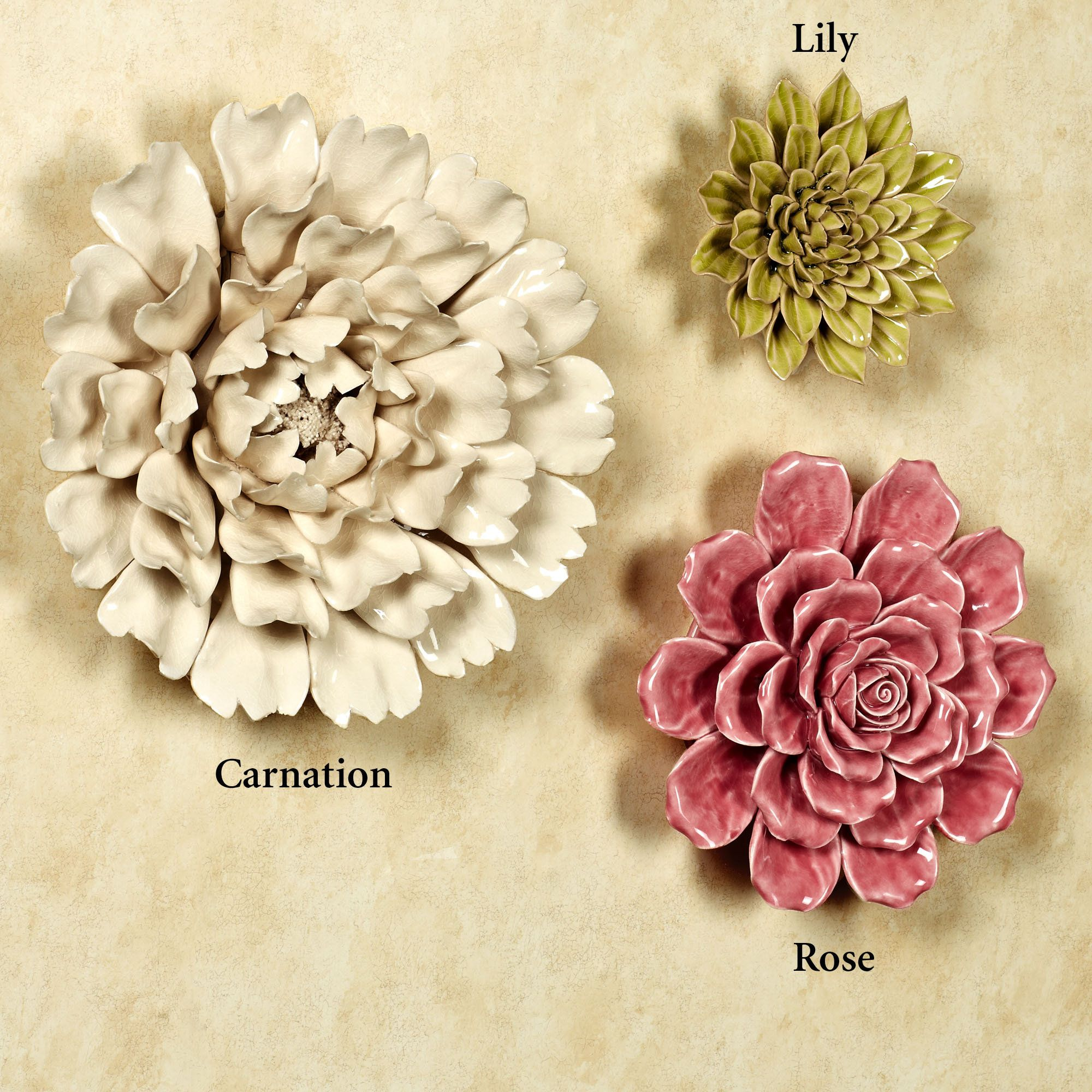 Isabella Ceramic Flower Blossom Wall Art | DH Miniature Clay ...