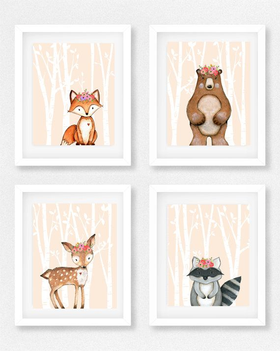 Woodland, nursery set of 4, Girls room, Raccoon picture ...