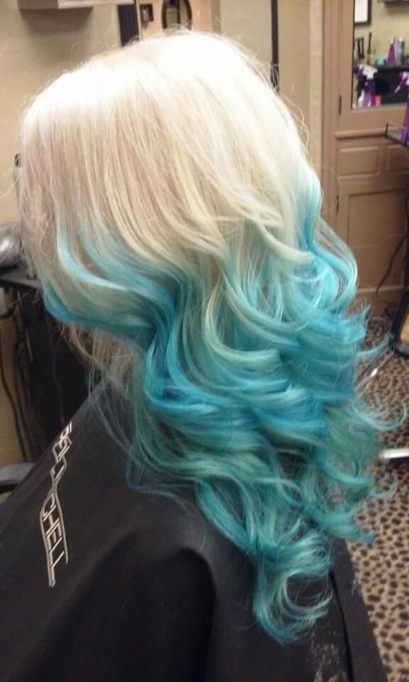 Blonde With Blue Ombre Dyed Hair Hair Color Blue Blue Ombre Hair