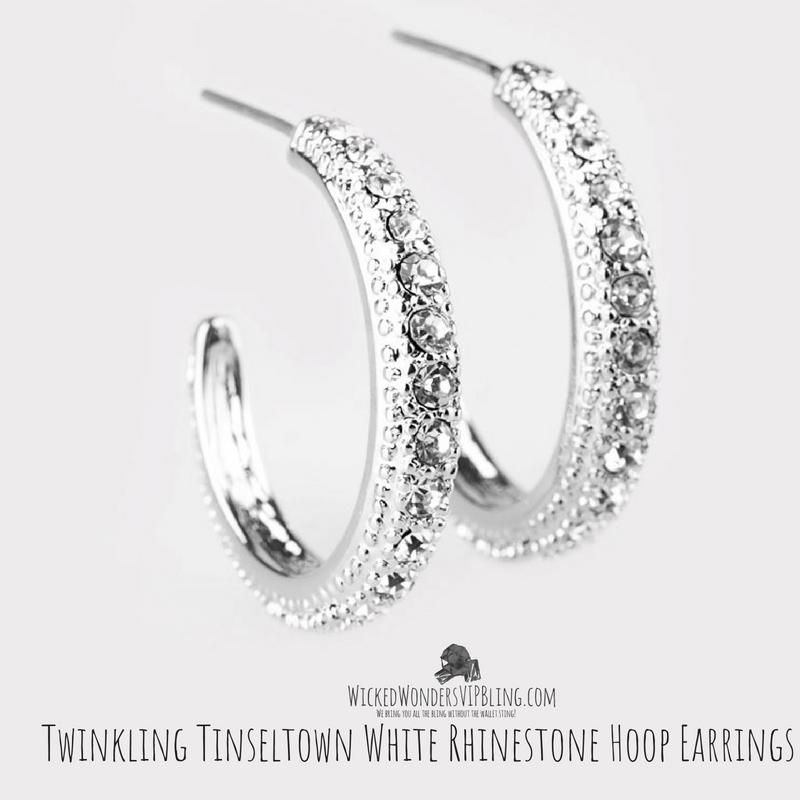 aca41701e554 Twinkling Tinseltown White Rhinestone Hoop Earrings Silver Hoops, Twinkle  Twinkle, Swings, Affordable Fashion