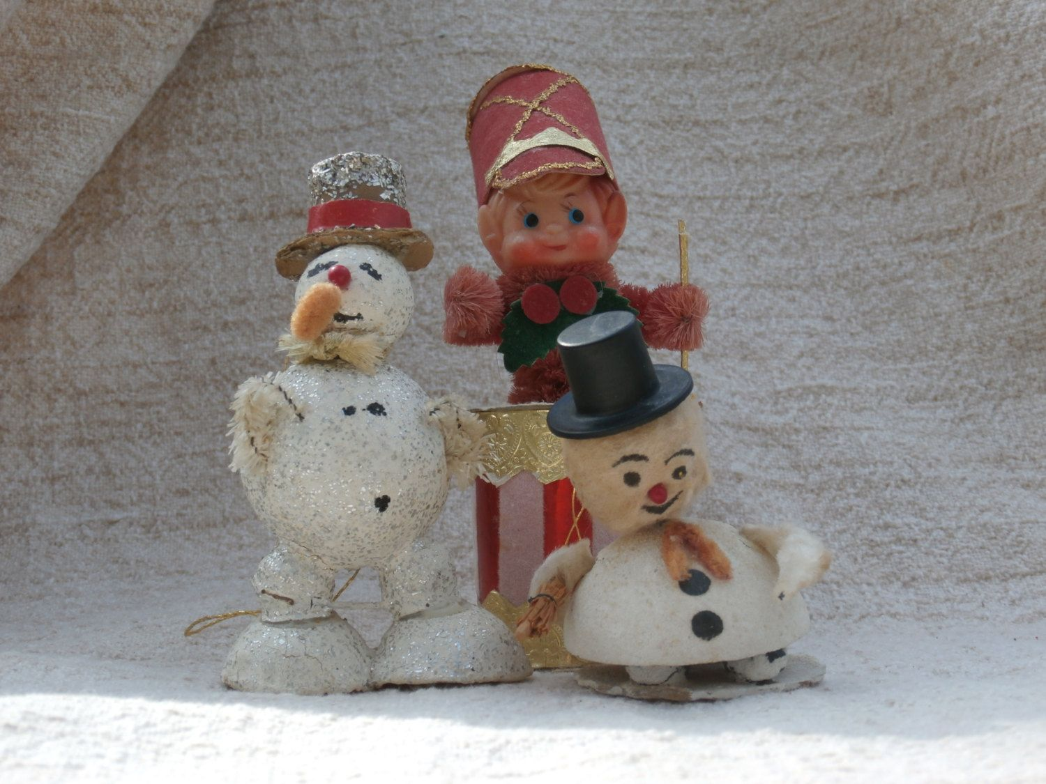 3 Vintage Japan Made Snowman, Drummer Boy Ornaments, Spun Cotton, Paper, Glitter, and Chenille Stem