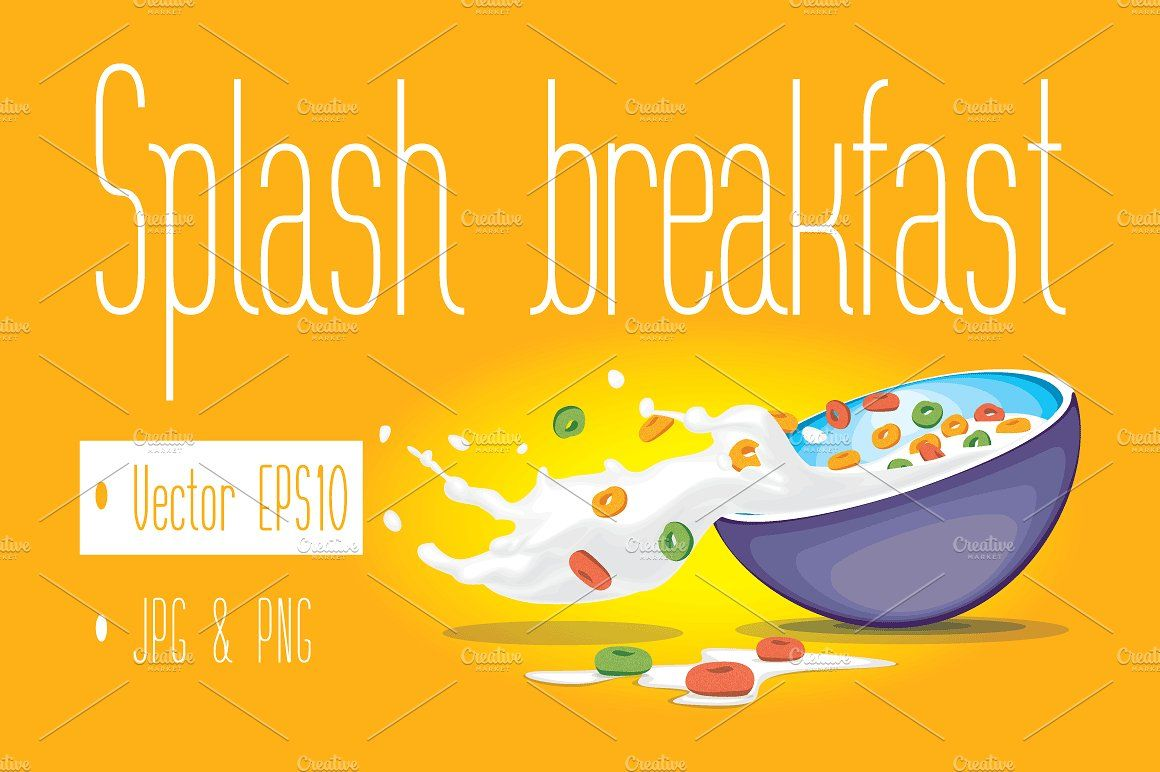 Corn Flakes, Cereal And Milk Splash In Bowl Vector Illustration Royalty  Free Cliparts, Vectors, And Stock Illustration. Image 100375085.