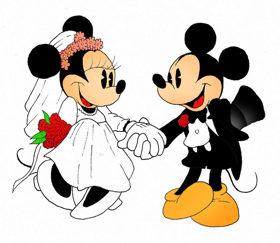 mickey minnie mouse mickey and minnie mouse holding hands at their wedding cartoon mickey. Black Bedroom Furniture Sets. Home Design Ideas
