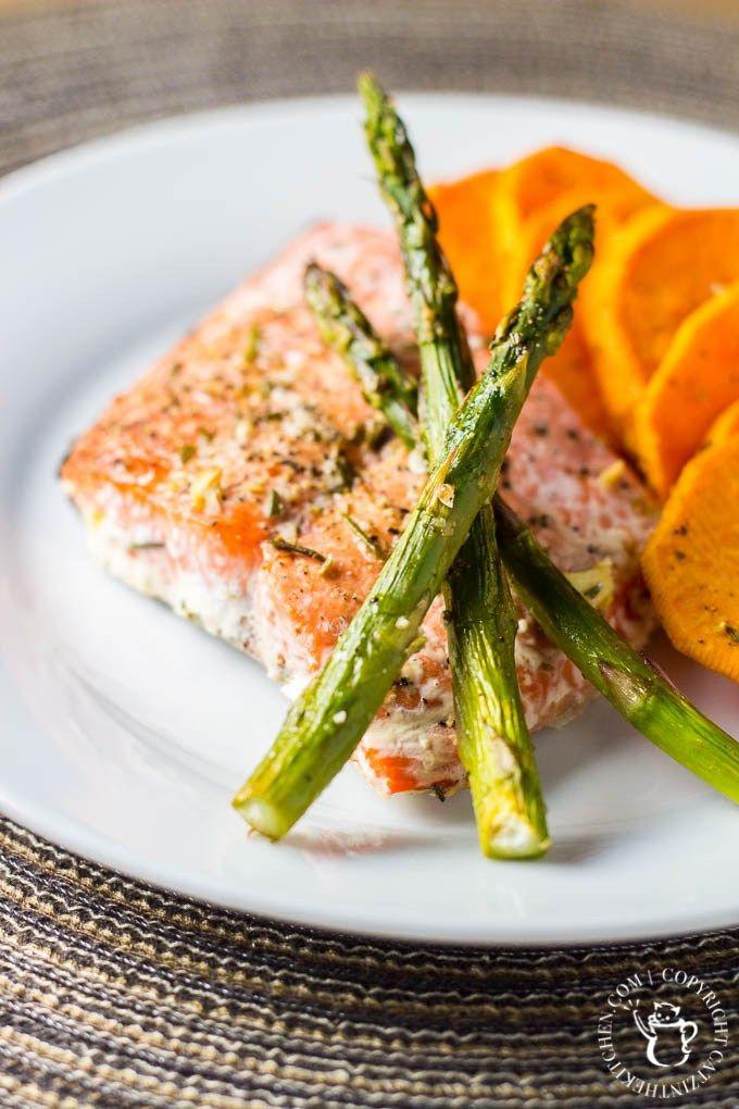 One Pan Salmon Asparagus And Sweet Potato Dinner Recipe Comida