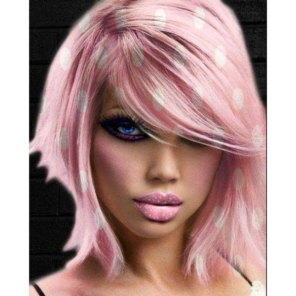 Pink Polka Dots Hair ❤ liked on Polyvore