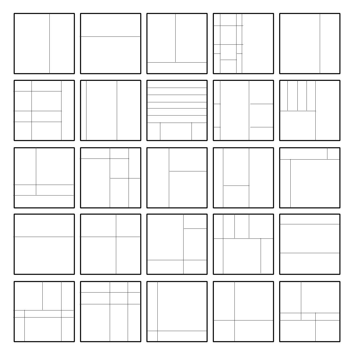 Quadrate im Modulor-Maßen-Unterteilungen