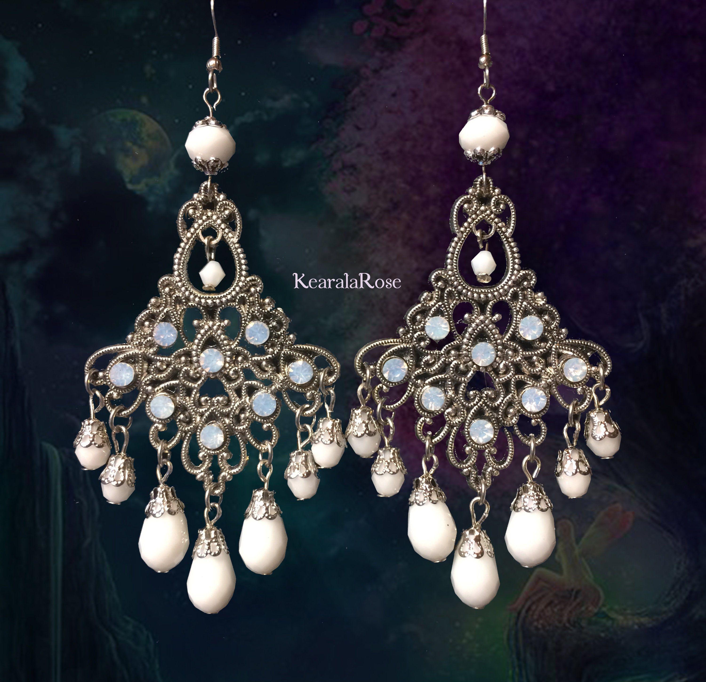 Antique Silver Crystal Rhinestone Chandelier Earrings Bohemian