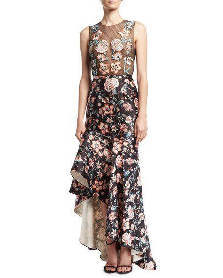 0b43a86dce82 Roxie Floral Point d'Esprit & Satin High-Low Gown Jet   Dresses part ...
