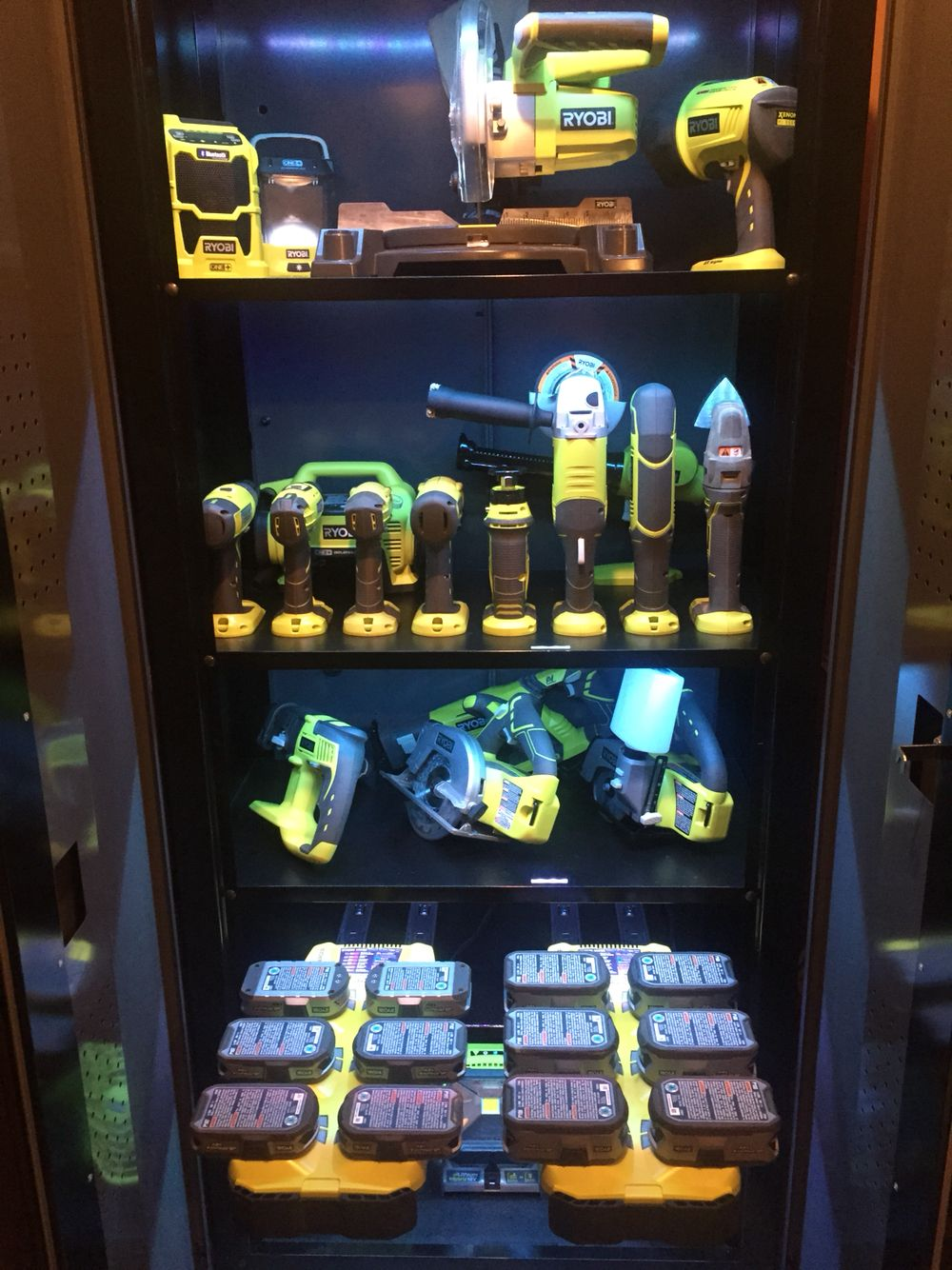 Ryobi Tool Storage With Slide Out Battery Chargers Tool