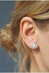 Photo of Textured Snowflake Studs, Silver Sun Earrings, Ethnic Stud Earrings, Dainty Jewe…