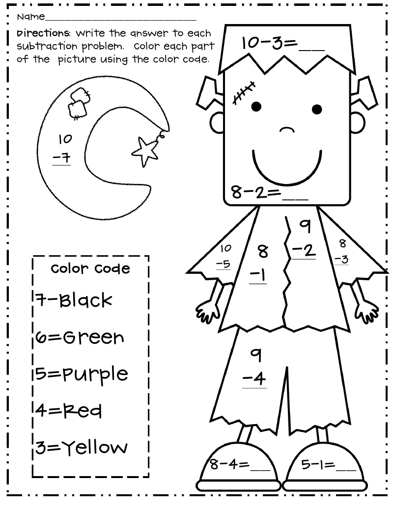Halloween Subtraction Color By Number Frankpdf  Fallapples